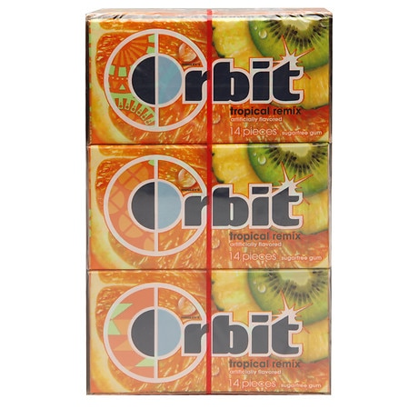 Orbit Sugar Free Gum Tropical Remix, 12 pk