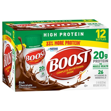 Boost High Protein Complete Nutritional Drink Rich Chocolate,8 oz Bottles, 12 pk
