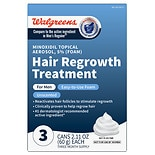 Walgreens Minoxidil Hair Regrowth Treatment Foam for Men - 3 Pack Unscented