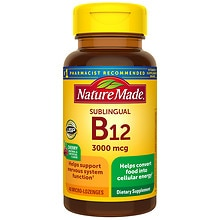 Nature Made B-12 Vitamin 3000 mcg Dietary Supplement Micro-Lozenges Natural & Artificial Cherry Flavor