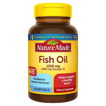 Nature Made Fish Oil 1200 mg Dietary Supplement Liquid Softgels Lemon