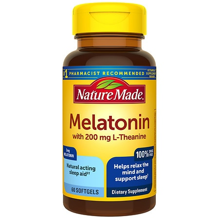 Nature Made Melatonin + 200 mg L-Theanine Dietary Supplement Liquid Softgels