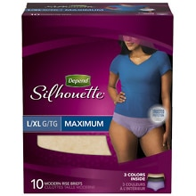 Depend Silhouette for Women Briefs Maximum Absorbency Peach L/XL Peach
