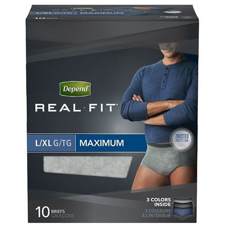 Depend Real Fit Underwear for Men Maximum Absorbency, 10 Pack L/XL Gray
