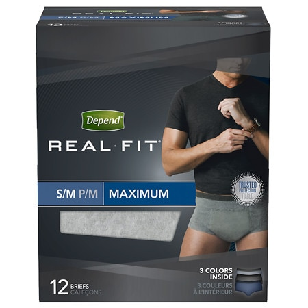 Depend Real Fit for Men Briefs Maximum Absorbency Gray Small/Medium Gray & Blue