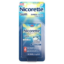 Nicorette Nicotine Gum, 4mg White Ice Mint