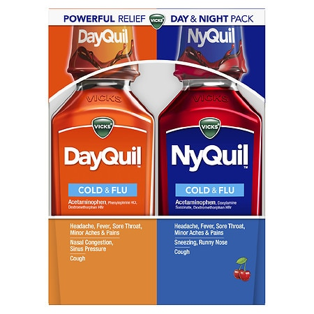 Vicks Dayquil Nyquil Cold & Flu Relief Combo Pack, Liquid Cherry,2-12 oz Bottles