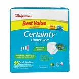 Walgreens Certainty Unisex Underwear Maximum Small Medium