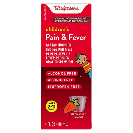 Walgreens Children's Pain & Fever Acetaminophen Oral Suspension 160mg Strawberry