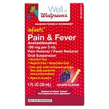 Walgreens Infants' Pain & Fever Suspension Liquid Grape Grape Flavor