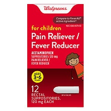 Walgreens Children's Pain Reliever/Fever Reducer Rectal Suppositories