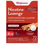 Walgreens Nicotine Stop Smoking Aid Lozenges 4 mg Cinnamon Cinnamon Flavor