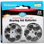 Walgreens Premium Zinc Air Hearing Aid Batteries Size 675