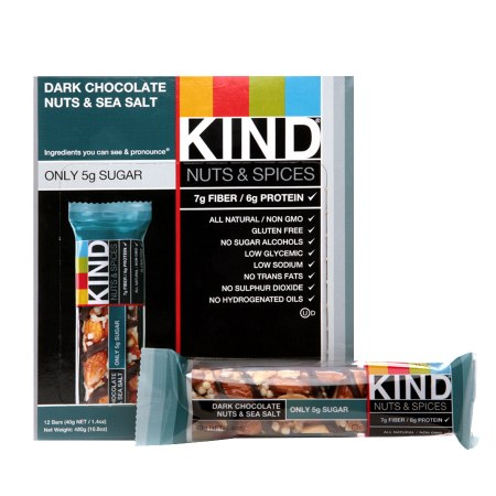 KIND Nuts & Spices Bars Dark Chocolate Nuts & Sea Salt, 12 pk