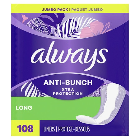 Always Xtra Protection Daily Liners, Long Unscented, 2pk