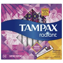 Tampax Tampons with Radiant Plastic Applicators Unscented