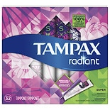 Tampax Radiant Super Tampons Unscented 32ct