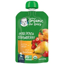 Organic Baby Food Pouch Pears, Peaches & Strawberries