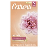 Caress Daily Silk Silkening Beauty Bars 6 Pack White Peach & Silky Orange Blossom,4 oz