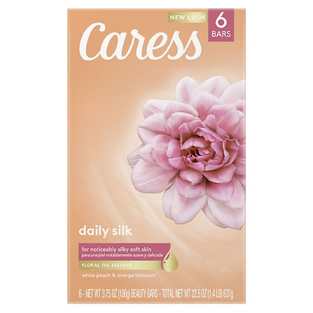 Caress Daily Silk Silkening Beauty Bars 6 Pack Daily Silk White Peach and Silky Orange Blossom,4 oz