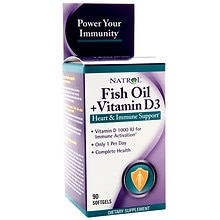 Fish Oil + Vitamin D3 Dietary Supplement Softgels