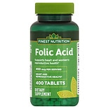 Finest Nutrition Folic Acid 400 mcg Dietary Supplement Tablets