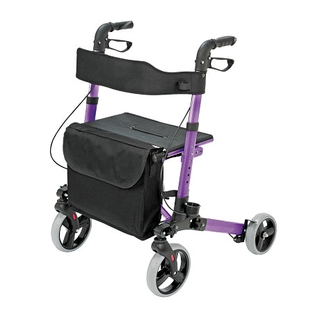 HealthSmart Gateway Ultra-Lightweight Aluminum 4-Wheel Rollator Purple