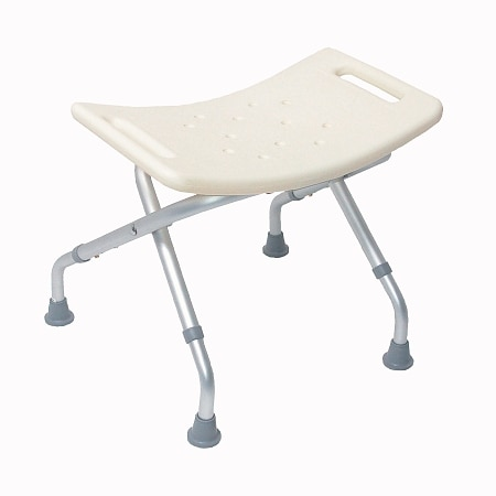 Mabis Blow-Molded Folding Bath Seat without Back, with Adjustable Legs - White