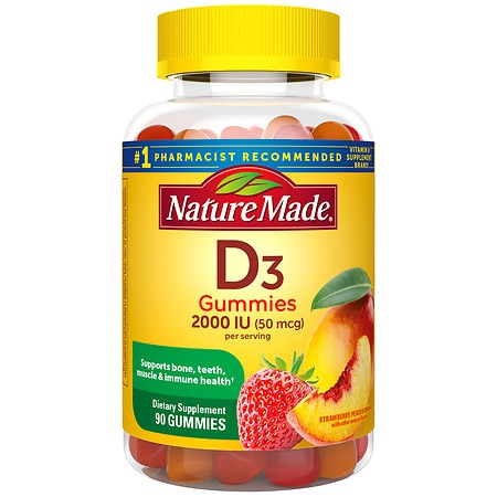 Nature Made Vitamin D3 Adult Gummies Strawberry, Orange & Lemon