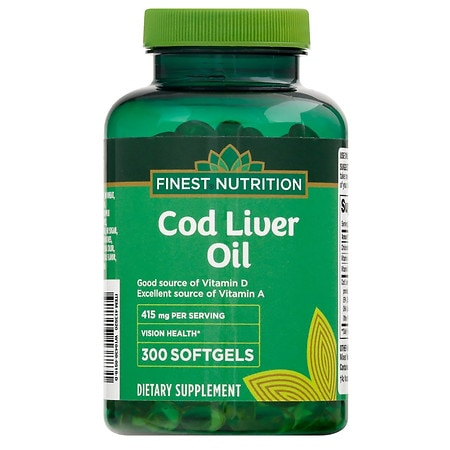 Finest nutrition cod liver oil softgels walgreens for Is cod liver oil the same as fish oil