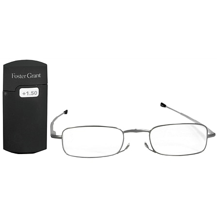 Foster Grant MicroVision Optical Metal Folding Micro-Reader Reading Glasses Gideon +1.50 Silver