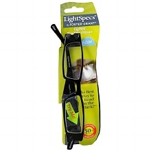 Foster Grant Light Specs Plastic Lighted Reading Glasses +2.00 Black