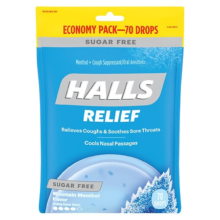 Halls Sugar Free Menthol Cough Suppressant/Oral Anesthetic Drops Menthol