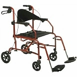 Medline The Combination Transport Chair/Rollator Red