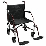 Medline Ultra-Light Transport Chair Red