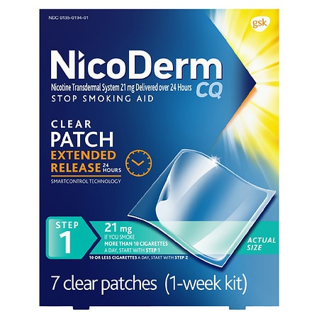 Nicoderm CQ Smoking Cessation Aid, Step 1 21mg Clear