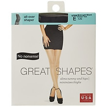No Nonsense Great Shapes Great Shapes All-Over Shaper Sheer Toe Body-Shaping Pantyhose Midnight Black Size E