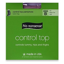 No Nonsense Control Top Sheer Toe Pantyhose Tan