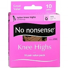 No Nonsense Comfort Top Sheer Toe Knee Highs, Size Q Tan