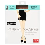 No Nonsense Great Shapes Great Shapes All-Over Shaper Sheer Toe Body Shaping Pantyhose Size D