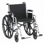 20 inch Steel Wheelchair with Detachable Desk Arms and Footrests