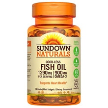 Sundown Naturals Odorless Omega-3 Fish Oil 1,290 mg Dietary Supplement Mini Softgels