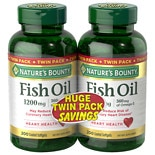 Nature's Bounty Odorless Fish Oil 1200 mg Dietary Supplement Softgels Twinpack