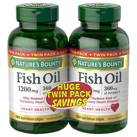 Nature's Bounty Fish Oil 1200 mg Rapid Release Liquid Softgels Twinpack