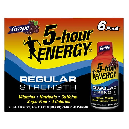 5-Hour Energy Dietary Supplement Shot Grape, 6 pk