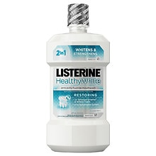 LISTERINE Whitening Whitening Plus Restoring Post-Brush Fluoride Rinse Clean Mint