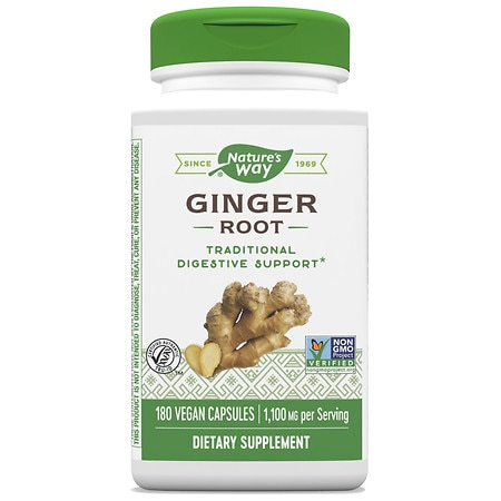 Nature's Way Ginger Root 550 mg Dietary Supplement Capsules