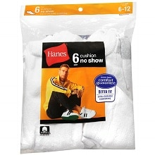 Hanes Men's No Show Cushion Socks Shoe Size 6-12
