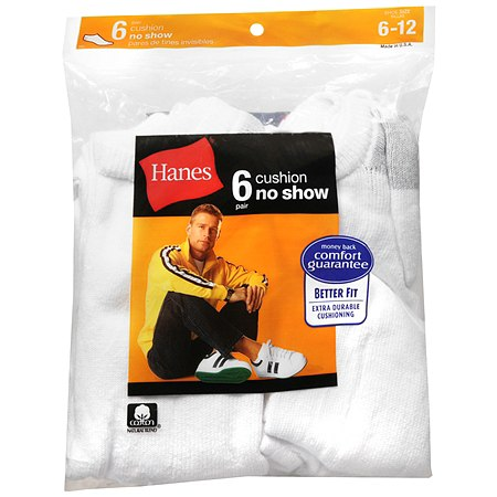 Hanes Men's No Show Cushion Socks Shoe Size 6-12 White