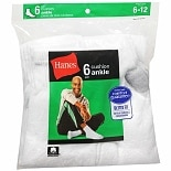 Hanes Men's Ankle Cushion Socks Shoe Size 6-12 White